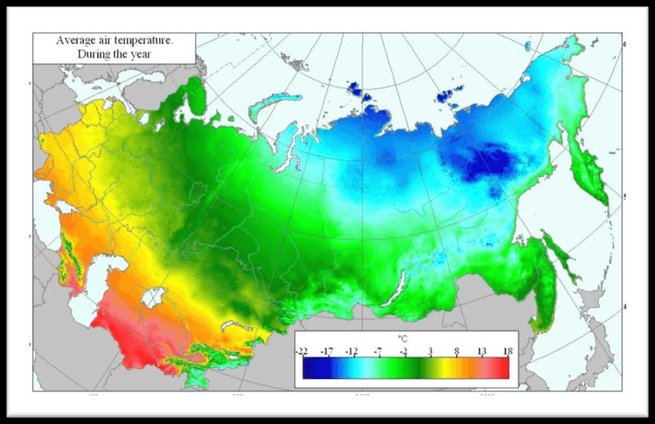 mapa temperaturas en rusia