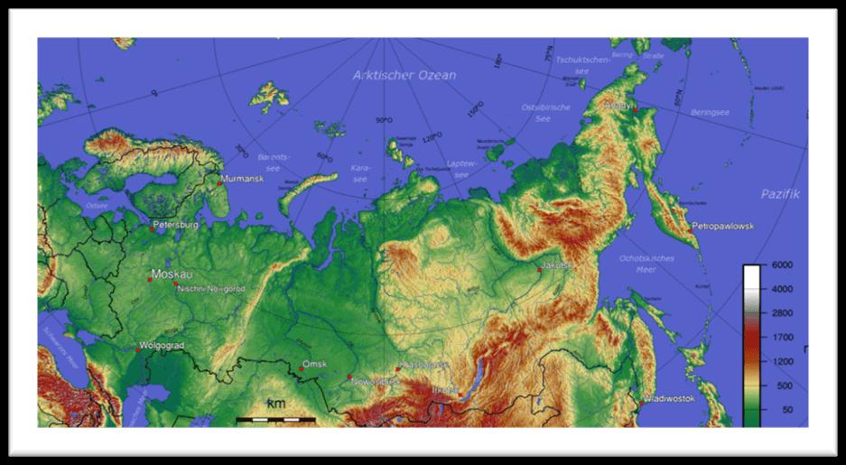 mapa topografico rusia